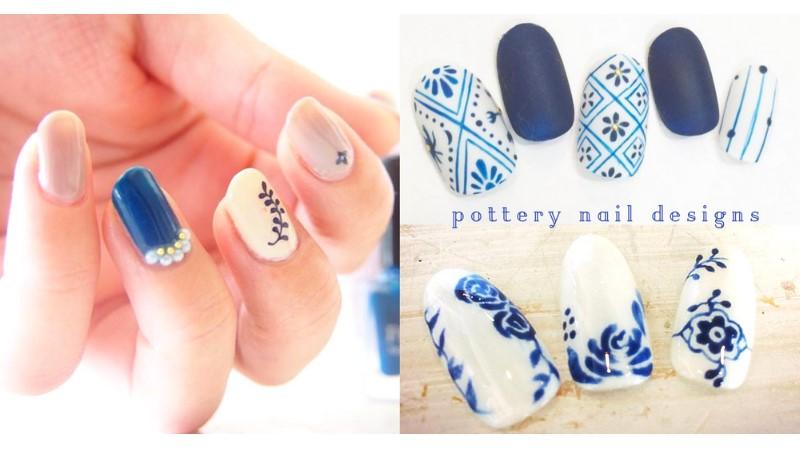 藍白控必試的陶器美甲!15古典高雅的陶器美甲款式~將杯杯碟碟的圖案都塗左指甲上吧!